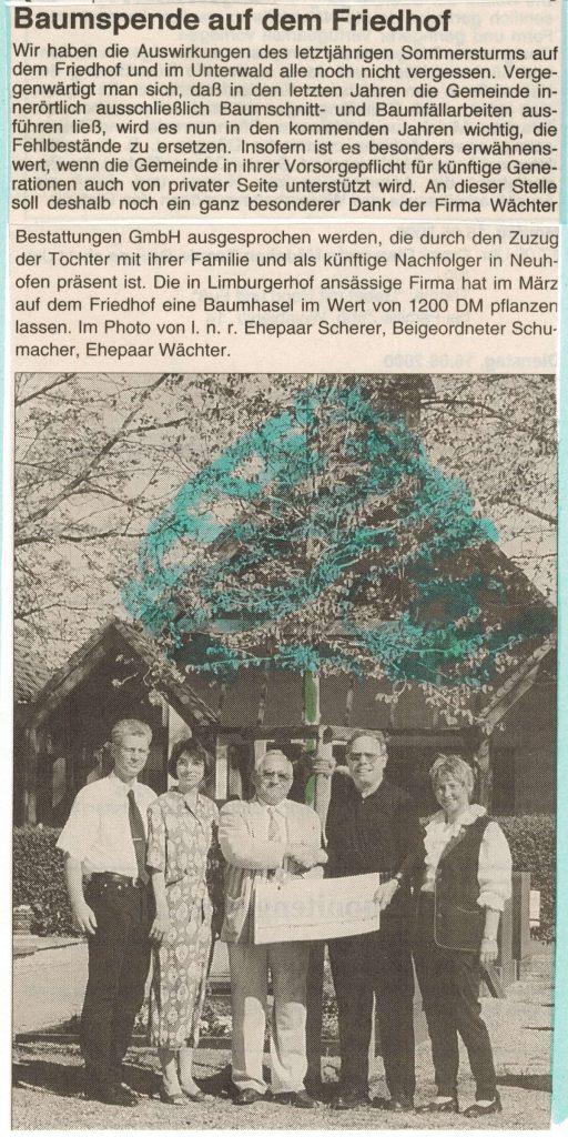 Zeitungsartikel Baumspende