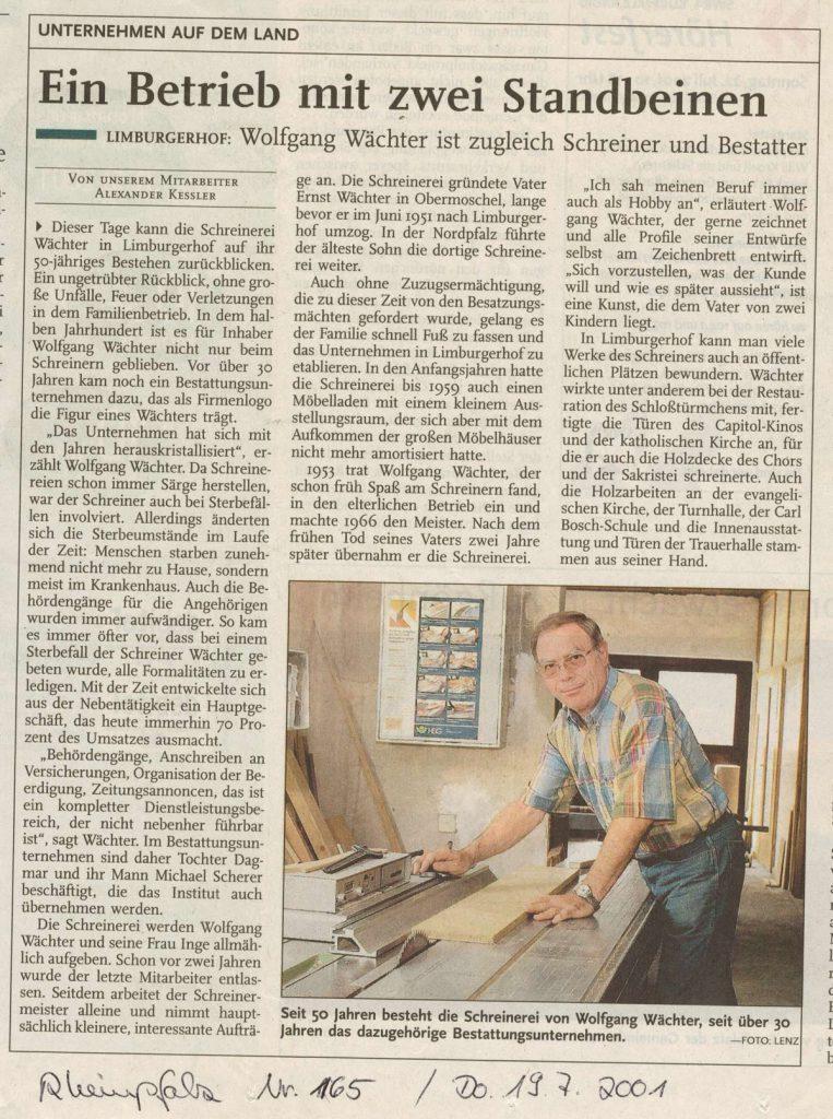 Zeitungsartikel Ein Betrieb mit 2 Standbeinen.
