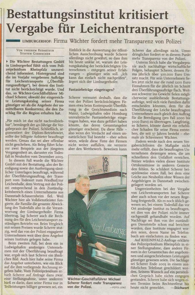 Zeitungsartikel Leichentransporte