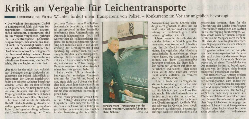 Zeitungsartikel Leichentransporte 2
