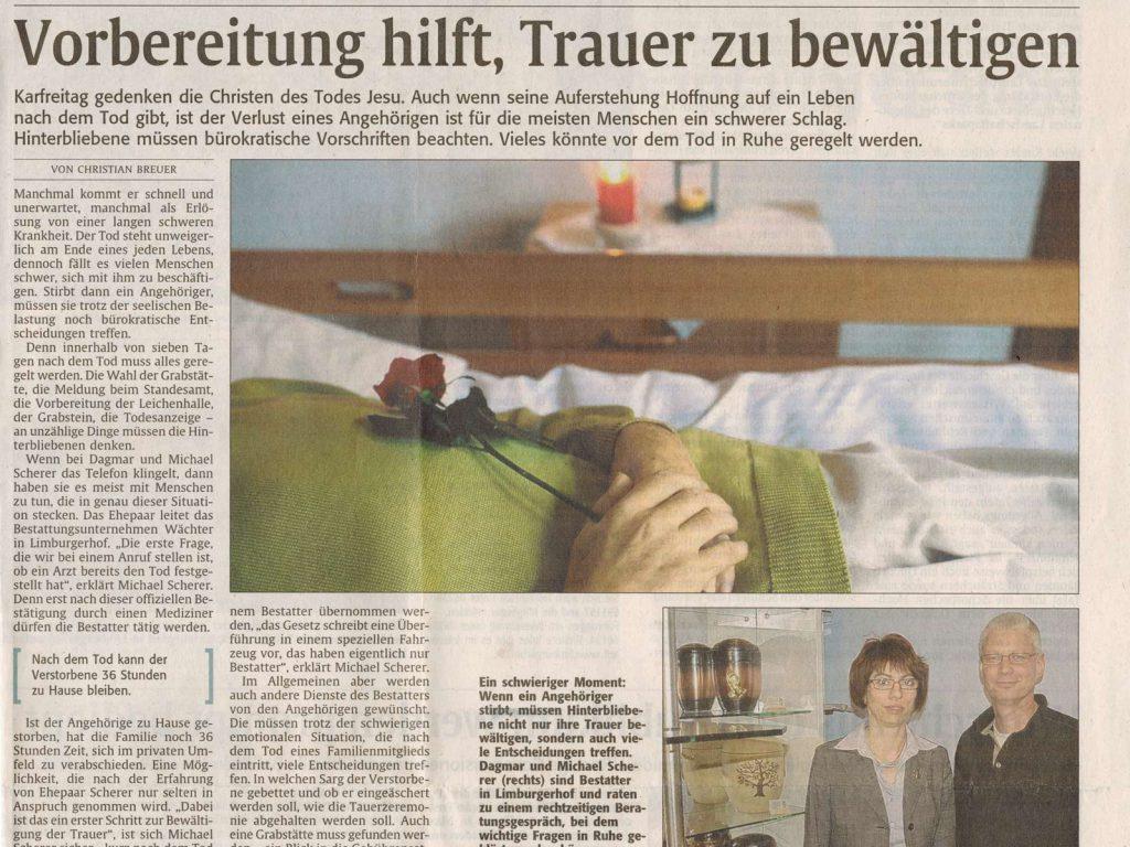 Zeitungsartikel Trauerbewältigung 1. Teil