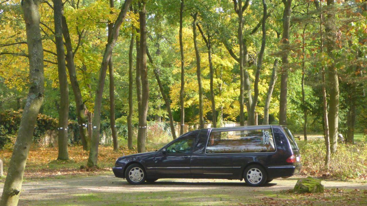 Überführungsfahrzeug mit offenen Scheiben und Sarg in Fahrt auf einem Waldfriedhof.