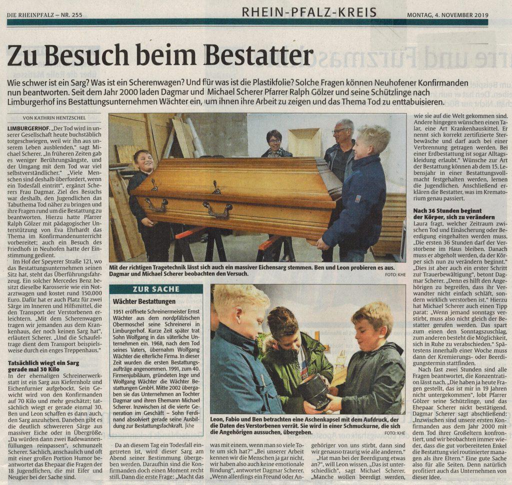 """Konfirmanden besuchen den Betrieb, Zeitungsartikel von """"Die Rheinpfalz"""""""