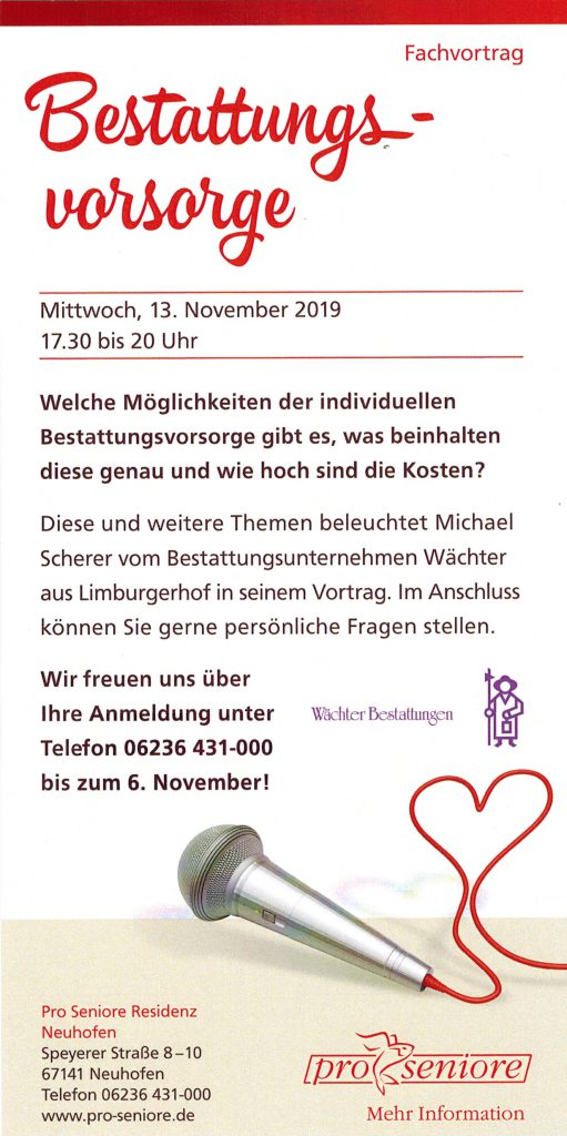 Flyer des Pro Seniore Neuhofen zur Bestattungsvorsorge.