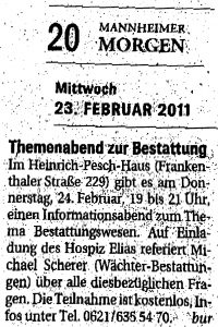 """Zeitungsartikel """"Mannheimer Morgen"""" über einen Vortrag im Hospiz Elias Ludwigshafen"""
