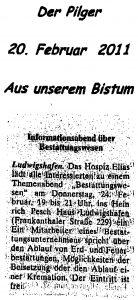 """Zeitungsartikel """"Der Pilger"""" über einen Vortrag im Hospiz Elias Ludwigshafen"""