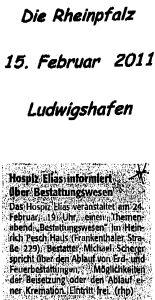 """Zeitungsartikel """"Die Rheinpfalz"""" über einen Vortrag im Hospiz Elias Ludwigshafen"""