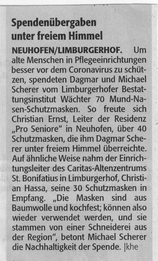 Spende Mund-Nasen-Schutzmasken an Pro Seniore Neuhofen und Caritas Altenzentrum St. Bonifatius Limburgerhof