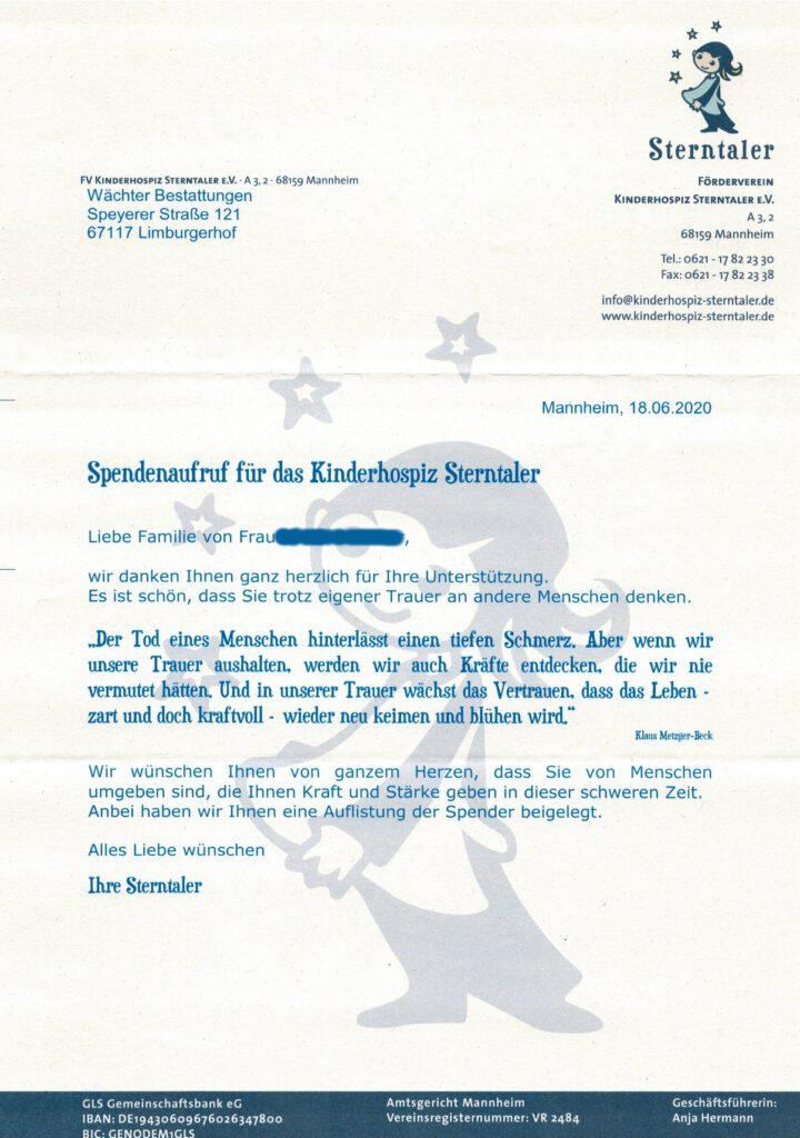 Dankesschreiben des Förderverein Kinderhospiz Sterntaler e.V. für Kondolenzspenden in einem Trauerfall
