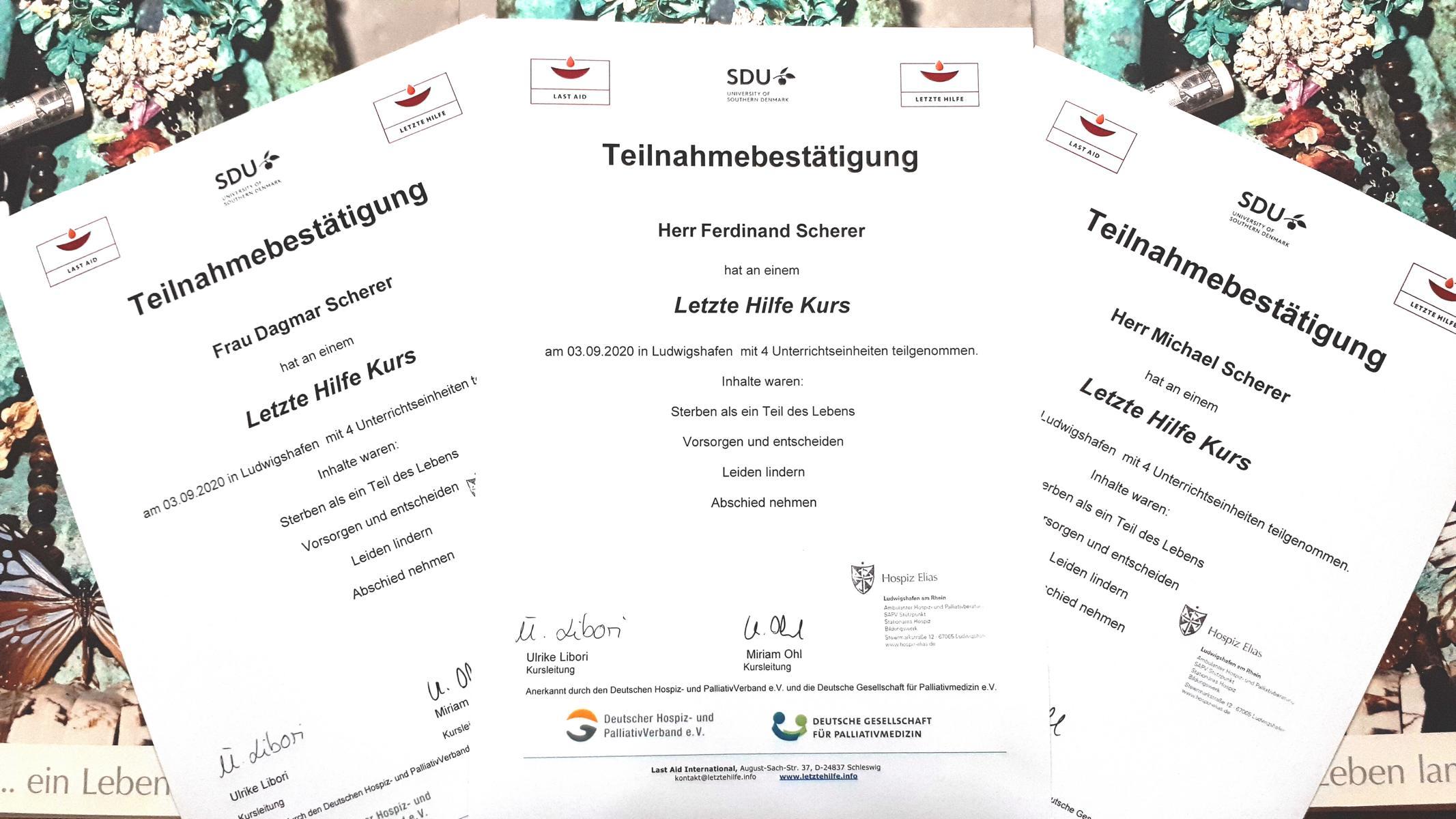 """Teilnahmebestätigung """"Letzte Hilfe"""" Dagmar, Michael und Ferdinand Scherer"""