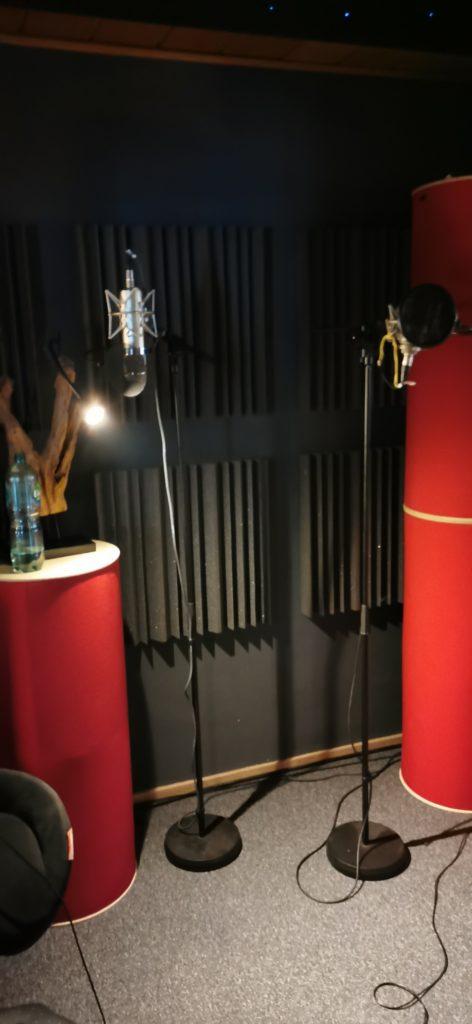Aufnahmekabine mit Mikrofonen.