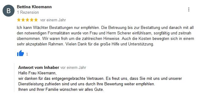Google Beurteilung Bettina Kleemann