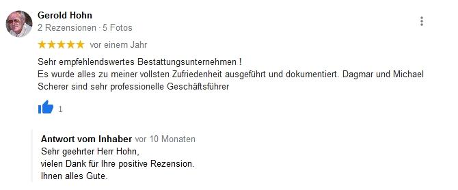Google Beurteilung Gerold Hohn
