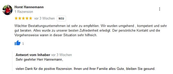 Google Beurteilung Horst Hannemann