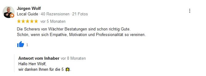 Google Beurteilung Jürgen Wolf