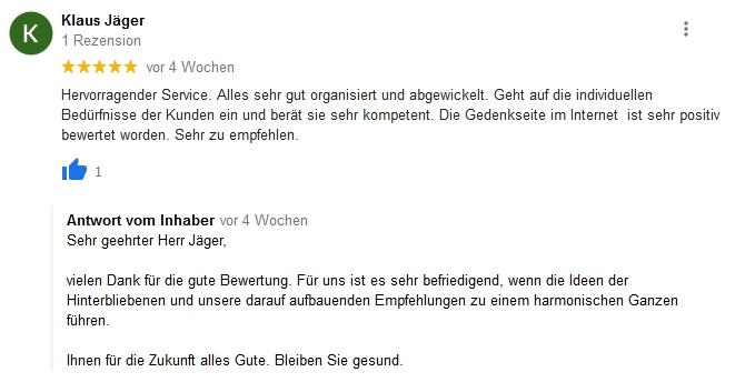 Google Beurteilung Klaus Jäger