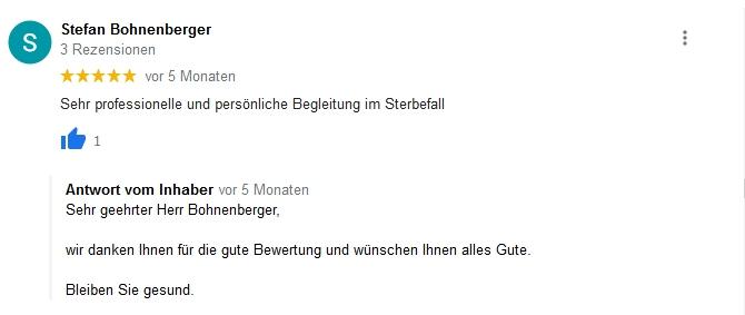 Google Beurteilung Stefan Bohnenberger