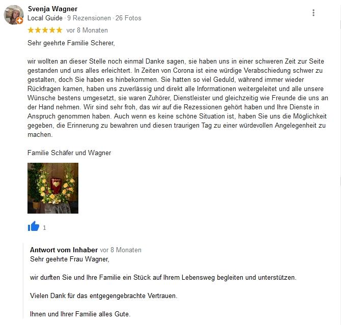 Google Beurteilung Svenja Wagner