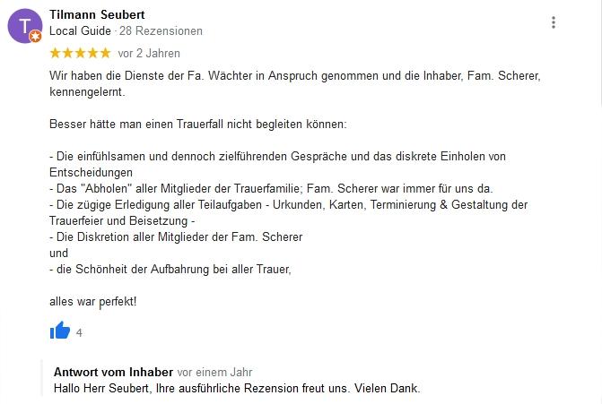 Google Beurteilung Tilmann Seubert
